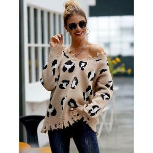 Leopard print distressed oversized sweater tan
